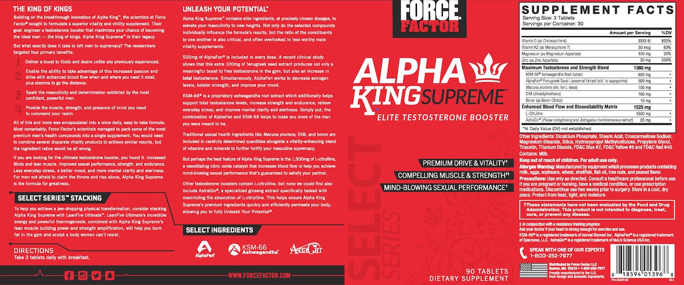 Force Factor® Alpha King Supreme Elite Testosterone Booster